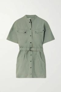 Isabel Marant Étoile - Zolina Belted Cotton Mini Dress - Army green