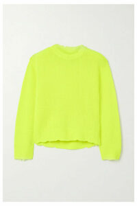 RtA - Emma Distressed Neon Cashmere Sweater - Chartreuse