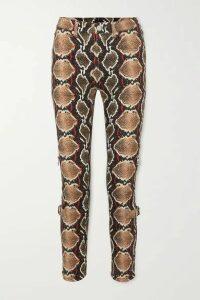 Burberry - Snake-print High-rise Slim-leg Jeans - Gray green