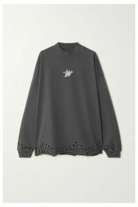 we11done - Oversized Printed Distressed Cotton-jersey Top - Charcoal