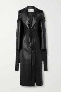 MATERIEL - Tie-detailed Faux Leather Coat - Black