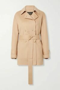 Loro Piana - Belted Leather-trimmed Cashmere Jacket - Antique rose