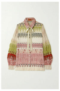 Missoni - Pussy-bow Metallic Crochet-knit Shirt - Pink