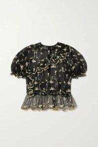 Simone Rocha - Bubble Ruffled Embroidered Tulle Top - Black