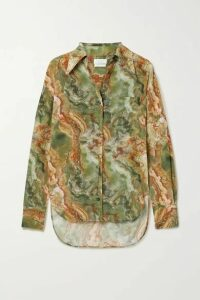 Deveaux - Dawn Printed Silk-georgette Blouse - Army green