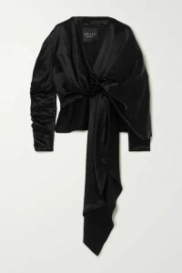 A.W.A.K.E. MODE - Reversible Draped Hammered-satin Top - Black