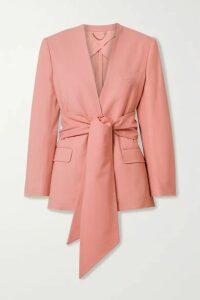 Salvatore Ferragamo - Belted Woven Blazer - Baby pink