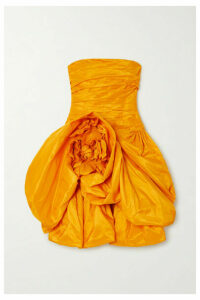 Oscar de la Renta - Strapless Draped Silk-taffeta Mini Dress - Saffron
