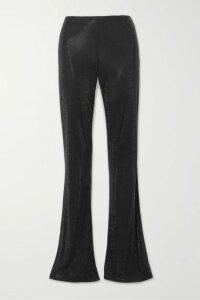 Versace - Swarovski Crystal-embellished Stretch-crepe Flared Pants - Black