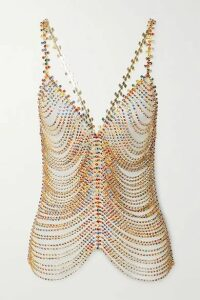 AREA - Crystal-embellished Chainmail Top - Gold