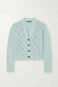 ALEXACHUNG - Faux Pearl-embellished Wool And Cotton-blend Cardigan - Sky blue