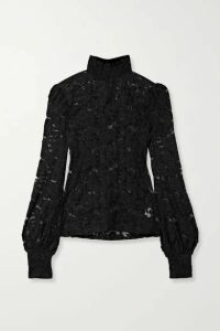 L'Agence - Samara Stretch-lace Turtleneck Blouse - Black