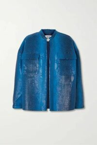 Maisie Wilen - Oversized Snake-effect Vinyl Jacket - Blue