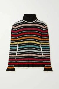 Mary Katrantzou - Bow Striped Metallic Ribbed-knit Turtleneck Sweater - Black