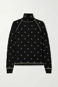 Fendi - Embroidered Stretch-jersey Turtleneck Top - Black