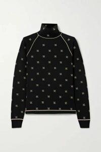 Fendi - Embroidered Stretch-jersey Turtleneck Top - Black