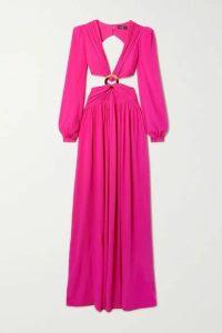 PatBO - Cutout Neon Crepe Maxi Dress - Fuchsia