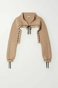 Loewe - Cropped Tie-detailed Wool And Cashmere-blend Sweater - Beige