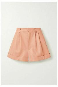 Alice + Olivia - Conry Pleated Leather Shorts - Blush