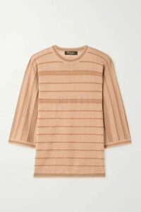 Loro Piana - Kimono Essaouira Striped Cashmere And Silk-blend Sweater - Camel