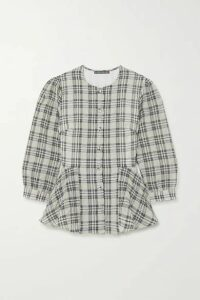 ALEXACHUNG - Checked Seersucker Peplum Blouse - Ecru