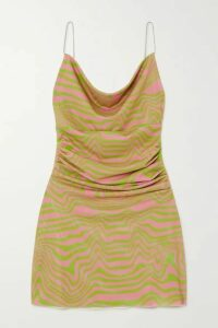 Maisie Wilen - Bead-embellished Ruched Printed Stretch-jersey Mini Dress - Pink