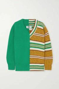 MM6 Maison Margiela - Paneled Striped Cotton Sweater - Green