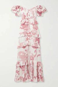 Caroline Constas - Iva Off-the-shoulder Ruffled Printed Cotton-blend Poplin Gown - Ivory