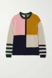 ALEXACHUNG - Patchwork Knitted Sweater - Pink
