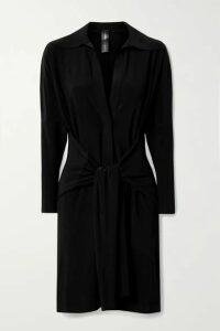 Norma Kamali - Tie-front Stretch-jersey Mini Dress - Black