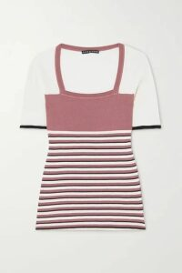 ALEXACHUNG - Striped Ribbed Silk And Cotton-blend Top - Pink