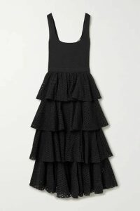 Rhode - Naomi Tiered Shirred Broderie Anglaise Cotton Midi Dress - Black