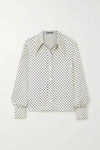 ALEXACHUNG - Polka-dot Satin Shirt - Ivory
