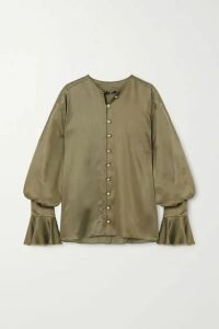 Balmain - Ruffled Satin Blouse - Army green