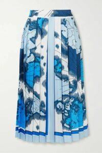 Victoria, Victoria Beckham - Pleated Printed Satin-twill Midi Skirt - Blue