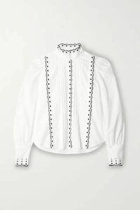 See By Chloé - Pintucked Embroidered Cotton-poplin Blouse - White