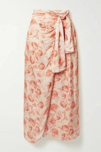 Mother of Pearl - + Net Sustain Wrap-effect Floral-print Hammered-satin Midi Skirt - Peach