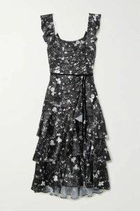 Marchesa Notte - Velvet-trimmed Tiered Floral-print Charmeuse Midi Dress - Black