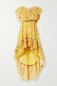 LoveShackFancy - Alexia Ruffled Tiered Floral-print Cotton-voile Dress - Yellow