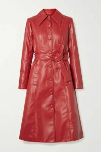 Les Rêveries - Faux Leather Trench Coat - Red