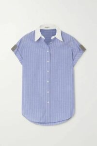 Brunello Cucinelli - Bead-embellished Striped Cotton-poplin Shirt - Light blue