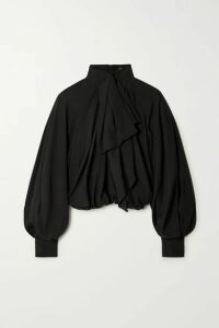 Balmain - Pussy-bow Gathered Silk Blouse - Black