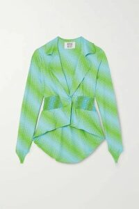 Maisie Wilen - Shirred Printed Stretch-jersey Blazer - Green