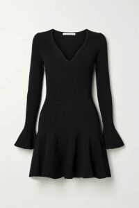 Jonathan Simkhai - Fluted Ribbed-knit Mini Dress - Black