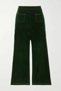 ALEXACHUNG - Cotton-corduroy Straight-leg Pants - Dark green