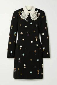 Tory Burch - Silk Organza-trimmed Embellished Crepe Dress - Black