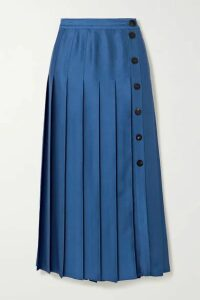Victoria, Victoria Beckham - Pleated Satin Midi Skirt - Blue
