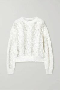 Brunello Cucinelli - Sequin-embellished Cable-knit Sweater - White