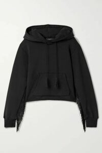 AMIRI - Fringed Cotton-terry Hoodie - Black