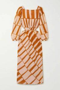 Johanna Ortiz - Illusion Of Time Cutout Printed Cotton-voile Midi Dress - Blush